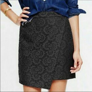 Madewell Black Lace Asymmetrical Skirt